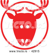 Vector of a Reindeer in Red Circle by Zooco