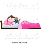 Vector of a Relaxed Brunette White Woman Sleeping with a Pink Pillow and Blanket by BNP Design Studio