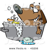 Vector of a Relaxed Cartoon Dog Bathing in a Tub with a Rubber Duck by Toonaday