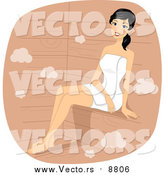 Vector of a Relaxed Woman Sitting in a Sauna by BNP Design Studio