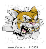 Vector of a Relentless Wild Cat Breaking Through a Wall by AtStockIllustration