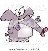 Vector of a Republican Cartoon Elephant Wearing an American Button While Pointing Number 1 Finger up by Toonaday
