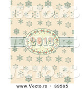 Vector of a Retro 2013 New Year Holly Frame and Ribbon over Snowflakes by Elaineitalia