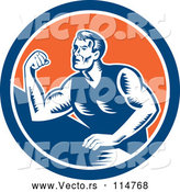 Vector of a Retro Arm Wrestling Man in a Blue White and Orange Circle by Patrimonio