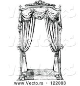 Vector of a Retro Black and White Window with Curtains by Prawny Vintage