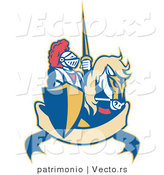 Vector of a Retro Knight Riding Horse with Lance Above Blank Banner by Patrimonio