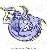 Vector of a Retro Knight Trying to Spear a Dragon to Death by Patrimonio