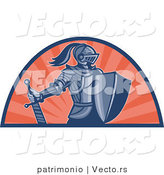 Vector of a Retro Knight with Shield and Sword by Patrimonio