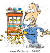 Vector of a Rich Man Winning Jackpot at Casino Game - Cartoon Style by Toonaday