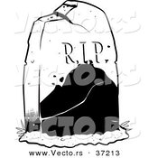 Vector of a R.I.P. Tombstone in a Cemetery - Black and White Line Art by Lawrence Christmas Illustration
