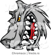 Vector of a Rival Cartoon Wolf Mascot Snarling and Growling by Chromaco