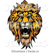 Vector of a Roaring African Lion Design by Chromaco