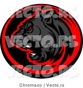 Vector of a Roaring Black Panther Within Red and Black Circle Icon by Chromaco