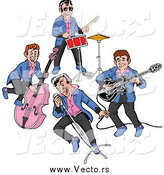 Vector of a Rockabilly Music Band of Guys Singing and Playing the Bass Drums and Guitar by LaffToon