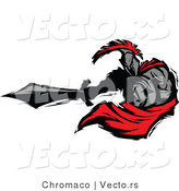 Vector of a Roman Cartoon Spartan Warrior Lunging Outwards with a Sword by Chromaco