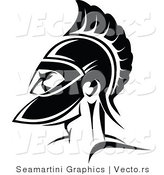 Vector of a Roman Soldier - Black and White by Vector Tradition SM