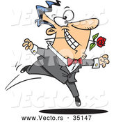 Vector of a Romantic Cartoon Man Dancing with a Red Rose by Toonaday
