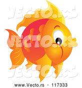 Vector of a Round Orange Fish by Visekart