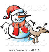 Vector of a Rude Cartoon Dog Peeing on Upset Snowman Wearing Santa Hat by Zooco