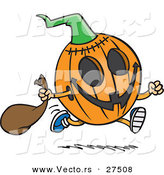 Vector of a Running Cartoon Halloween Pumpkin by Toonaday