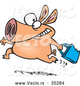 Vector of a Running Cartoon Pig Carrying a Shopping Bag by Toonaday