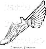 Vector of a Running Shoe with Wings - Black and White Line Drawing by Chromaco