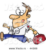Vector of a Rushing Cartoon Male EMT Carrying a First Aid Kit by Toonaday