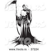 Vector of a Ruthless Grim Reaper Intimidatingly Standing with a Scythe While Pointing His Finger at You - Black and White by Lawrence Christmas Illustration