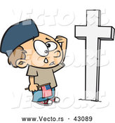 Vector of a Sad Cartoon Boy Crying and Saluting a Soldiers Grave on Memorial Day by Toonaday