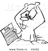 Vector of a Sad Cartoon Groundhog Holding a February Calendar - Coloring Page Outline by Ron Leishman