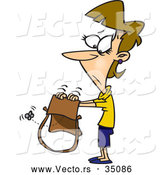 Vector of a Sad Cartoon Woman Looking for Money in Her Empty Purse by Toonaday