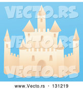Vector of a Sand Castle on a Beach with a Blue Background by Rasmussen Images
