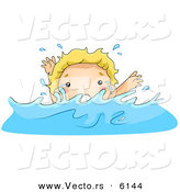Vector of a Scared Cartoon Boy Drowning in Deep Water by BNP Design Studio