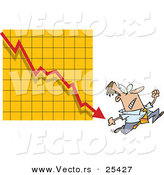 Vector of a Scared Cartoon Businessman Running a Rapidly Declining Arrow on a Graph by Toonaday