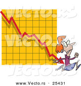 Vector of a Scared Cartoon Businesswoman Running a Rapidly Declining Arrow on a Graph by Toonaday