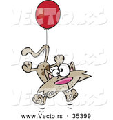 Vector of a Scared Cartoon Cat Tied to a Red Helium Balloon Floating up by Toonaday