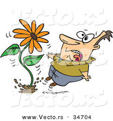 Vector of a Scared Cartoon Man Jumping Back from a Fast Growing Giant Flower Springing up out of the Ground by Ron Leishman
