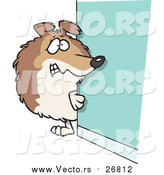 August 19th, 2016: Vector of a Scared Collie Dog Hiding Behind a Wall - Cartoon Style by Ron Leishman