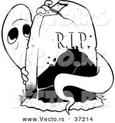 Vector of a Scared Ghost Hiding Behind a Tombstone - Black and White Line Art by Lawrence Christmas Illustration