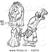 Vector of a Scary Cartoon Zombie Bride and Groom Walking Together - Coloring Page Outline by Ron Leishman