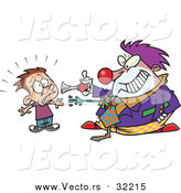 Vector of a Scary Clown Frightening a Boy - Cartoon Style by Toonaday