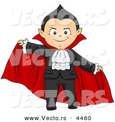 Vector of a Scary Halloween Cartoon Boy in a Vampire Costume by BNP Design Studio
