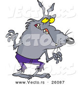 Vector of a Scary Halloween Cartoon Werewolf Wearing Old Purple Pants by Toonaday