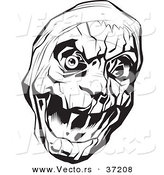 Vector of a Scary Mummy Head - Black and White Art by Lawrence Christmas Illustration