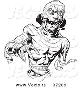 Vector of a Scary Mummy Reaching Forward - Black and White Line Art by Lawrence Christmas Illustration