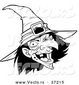 Vector of a Scary Witch Laughing - Black and White Line Art by Lawrence Christmas Illustration