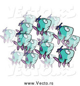 Vector of a School of Purple and Turquoise Fish by Ron Leishman