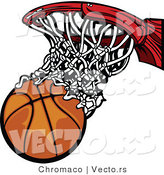 Vector of a Scoring Basketball Going Through Hoop and Net by Chromaco