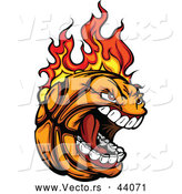 Vector of a Screaming Cartoon Basketball Mascot on Fire by Chromaco