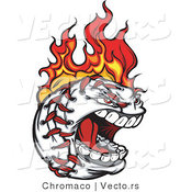 Vector of a Screaming Fast Baseball Character on Fire by Chromaco